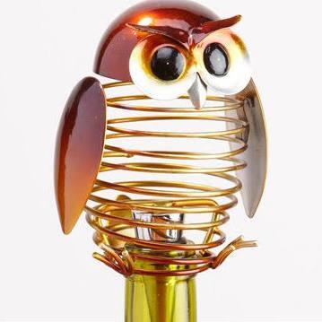 DFA1877 Wine Bottle Stopper - Owl in Brown