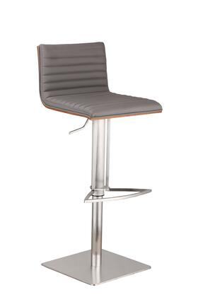 Cafe Collection LCCASWBAGRB201 Bar Stool with Adjustable Height  Swivel Seat  Walnut Veneer Back  Footrest Support  Brushed Stainless Steel Pedestal Base and