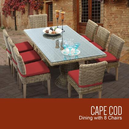 Capecod-rectangle-kit-8c-terracotta Cape Cod Vintage Stone Rectangular Outdoor Patio Dining Table With 8 Armless Chairs With 2 Covers: Beige And