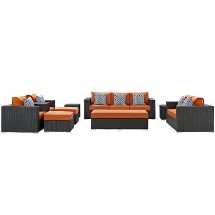 Sojourn Collection EEI-2377-CHC-TUS-SET 9-Piece Outdoor Patio Sunbrella Sectional Set with Loveseat  Rectangle Ottoman  Sofa  2 Armchairs  2 Ottomans and 2