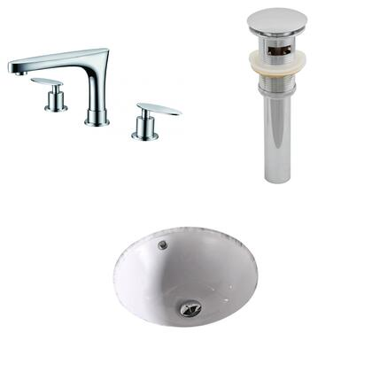 AI-13177 15.75-in. Width x 15.75-in. Diameter CUPC Round Undermount Sink Set In White With 8-in. o.c. CUPC Faucet And