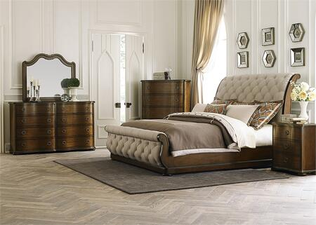 Cotswold Collection 545-BR-KSLDMCN 5-Piece Bedroom Set with King Sleigh Bed  Dresser  Mirror  Chest and Night Stand in Cinnamon