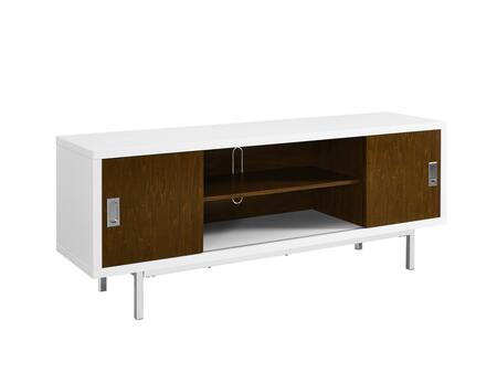 W60MHSLWWT 60 inch  Manhattan Wood TV Console with Full Sliding Doors in