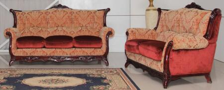 2200BURGUNDYS2SET Traditional 2 Piece Livingroom Set  Sofa and Loveseat in Burgundy with Mahogany