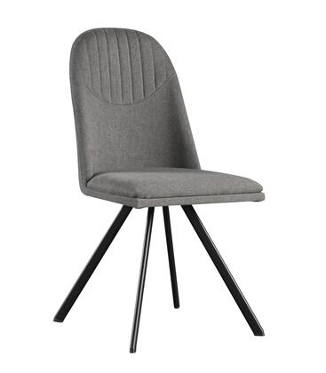 LH-402-DG Set of 4 Dining Chairs with Fabric Upholstery  Easy Maintenance and Modern/Contemporary Design in Dark