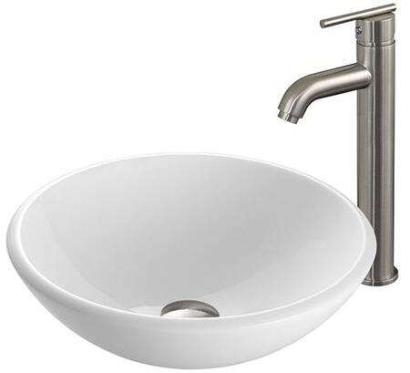 VGT203 White Phoenix Stone Glass Vessel Sink with Brushed Nickel