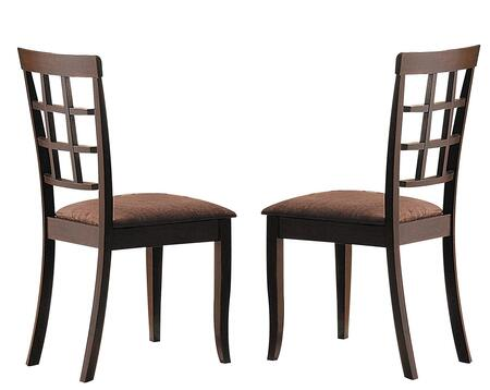Cardiff Collection 06851 Set of 2 Side Chairs with Foam Filled Seat Cushion  Dark Brown Microfiber Upholstery and Engineered Wood Construction in Espresso