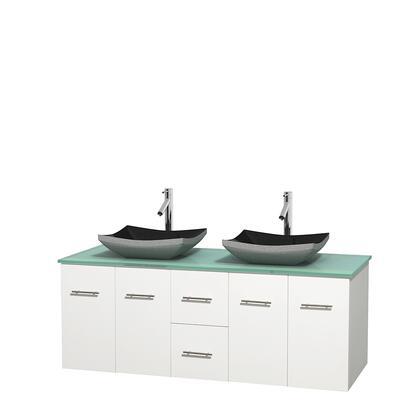 Wcvw00960dwhgggs1mxx 60 In. Double Bathroom Vanity In White  Green Glass Countertop  Altair Black Granite Sinks  And No