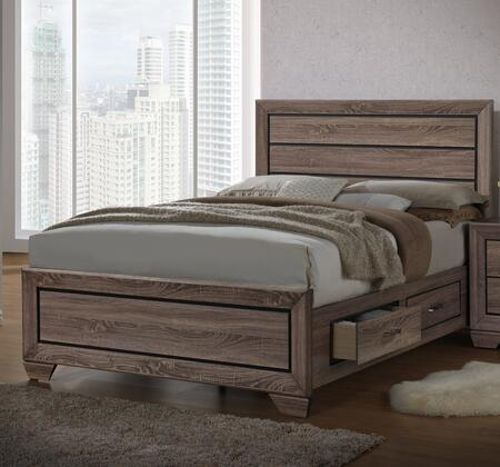 Kauffman Collection 204190Q Queen Size Storage Bed with 4 Side Rail Drawers  Clean Line Design  Contrast Recessed Grooves  Natural Wood Grain and Engineered