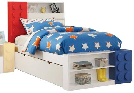 Playground Collection 30740T Twin Size Storage Bed with Bookcase Headboard  Block Construction Theme Design  Slats Included  Pine Wood Construction in White