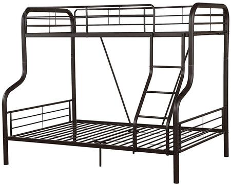 Cairo Collection 37610 Twin Over Full Size Bunk Bed with Right Facing Front Ladder  Easy Access Guard-Rail and Metal Tube (Steel) Frame in Sandy Black
