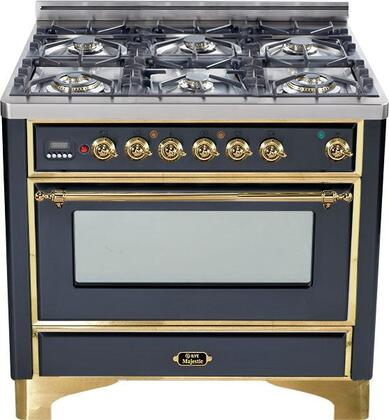 "UM-906-DMP-M 36"" Majestic Series Dual Fuel Range with 3.55 cu. ft. Oven Capacity  6 Burners  Electronic Ignition  Digital Clock and Timer  and Brass Trim:"