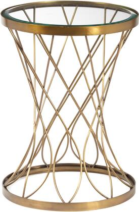 DS-D051029 Concave Round Metal Accent Table with Glass Top and Iron Construction in Brass