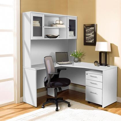 1C100002LWH White Corner L Shaped Desk with Hutch and Mobile