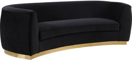 Julian 620Black-S Sofa with Velvet Upholstery  Gold Stainless Steel Base and Curved Back Design in