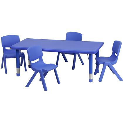 YU-YCX-0013-2-RECT-TBL-BLUE-R-GG 24''W x 48''L Adjustable Rectangular Blue Plastic Activity Table Set with 4 School Stack