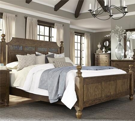 Hearthstone Collection 382-BR-KPS King Poster Bed with Turned Feet  Center Supported Slat System and Removable Natural Slate Accents in Rustic Oak