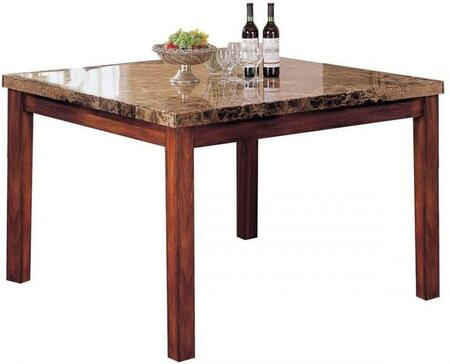 Bologna Collection 07380 54 inch  Counter Height Table with Brown Marble Top  Square Shape and Wood Construction in Brown Cherry