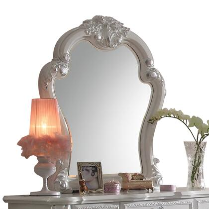 Dresden Collection 30669 35 inch  x 41 inch  Mirror with Beveled Edge  Poly Resin Ornamental Details and Solid Wood Construction in Antique White