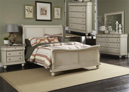 Rustic Traditions II Collection 689-BR-QSLDMCN 5-Piece Bedroom Set with Queen Sleigh Bed  Dresser  Mirror  Chest and Night Stand in Rustic White