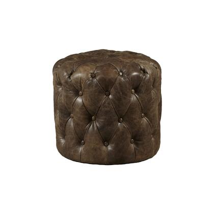 P020704 Button Tufted Leather Ottoman In