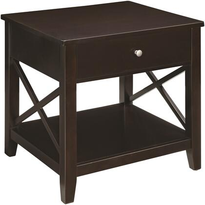Occasional Groups Collection 705687 24 inch  End Table with 1 Drawer  Bottom Shelf  X-Detailing and Silver Hardware in Espresso