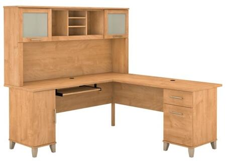Somerset WC81410K-11 Desk and Hutch with Simple Pulls  Tapered Legs and Adjustable Shelves in Maple