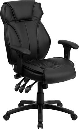 BT-9835H-GG High Back Black Leather Executive Office Chair with Triple Paddle