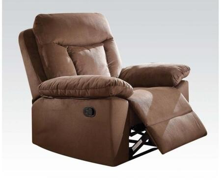 Elisha Collection 51427 40 inch  Recliner with Wood and Metal Frame  Plush Padded Arms  Tight Back Cushion and Suede Upholstery in Chocolate