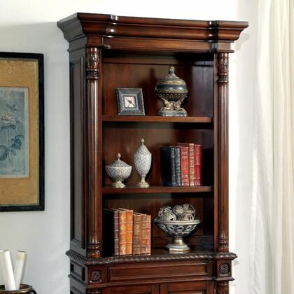 Roosevelt CM-DK6252S Book Shelf with Traditional Style  Ornate Design Features  Multiple Drawers  Solid Wood  Wood Veneer and Others in