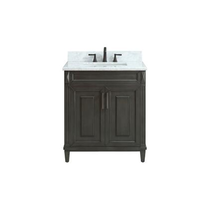 STERLING-VS30-CL-C Sterling 31 inch  Vanity in Charcoal Finish with Carrera White Marble