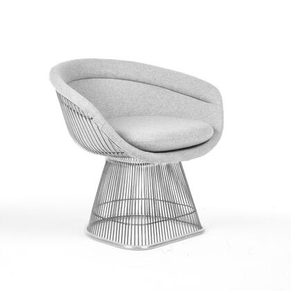 Pella FB7419LGREY Arm Chair with Stainless Steel Frame  Piped Stitching and Fabric Upholstery in Light