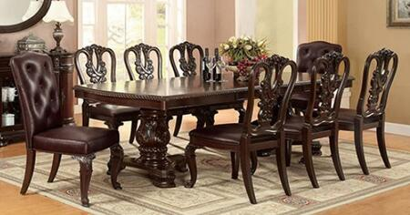 Bellagio Collection CM3319T8SC 9-Piece Dining Room Set with Rectangular Table  6 Side Chairs and 2 Leatherette Side Chair in Brown Cherry
