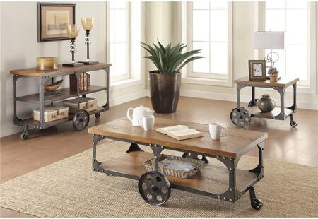 701128CES 3 PC Living Room Table Set with Coffee Table + End Table + Sofa Table in Dark Metal and Rustic Brown Wood