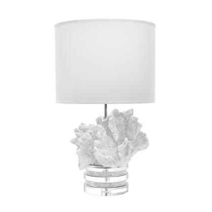 225089 White Coral And Crystal Lamp with Suede