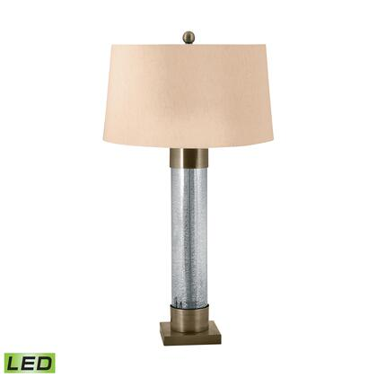 291-LED Mercury Glass Cylinder LED Table Lamp with Antiqued Brass