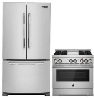 2-Piece Kitchen Package with JFC2089BEP 36 inch  French Door Refrigerator and JGRP436WP 36 inch  Freestanding Gas Range  in Stainless