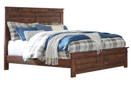 Hammerstead Collection B407-56S/58/95/B100-14 King Size Storage Panel Bed with Replicated Cherry Grain Details  2 Footboard Drawers and Cup Pull Handles in