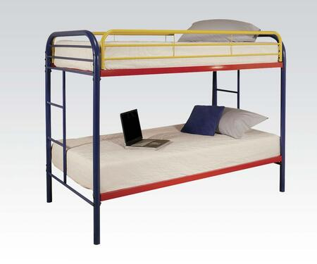 Thomas Collection 02188RNB Twin Over Twin Bunk Bed with Built-In Side Ladders  Safety Rails and Solid Metal Construction in Rainbow