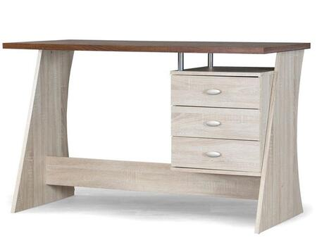 Baxton Studio SD-05-Oak Parallax Writing Desk with 3 Drawers  Metal Pulls and Engineered Wood