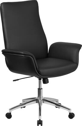 BT-88-MID-BK-GG Mid-Back Black Leather Executive Swivel Chair with Flared