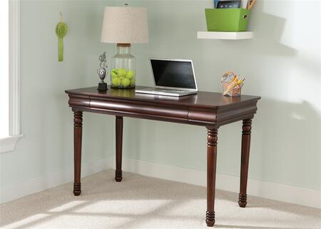 Carriage Court Collection 709-BR70 48 Student Desk with Full Extension Drawer Glides  Turned Legs and Louis Philippe Styling in Mahogany Stain