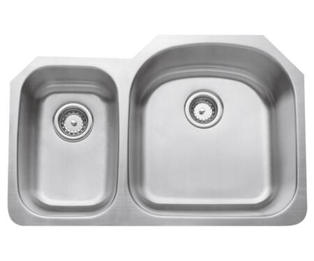 CMU3221-79D-16 Double Bowl Undermount 16 GA  Stainless Steel  Small Bowl on