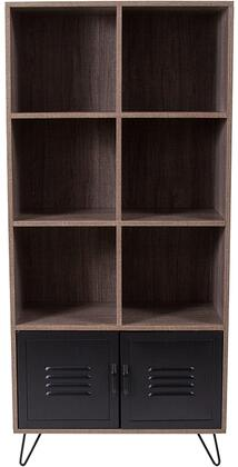 Woodridge Collection NAN-JN-21735BF-GG 27 inch  Storage Shelf with 2 Metal Cabinet Doors  Open Storage Compartments  Black Powder Coated Frame and Wood Grain