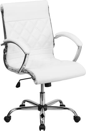 GO-1297M-MID-WHITE-GG Mid-Back Designer White Leather Executive Office Chair with Chrome