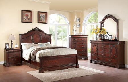 Estrella 20727EK5PC Bedroom Set with Eastern King Size Bed + Dresser + Mirror + Chest + Nightstand in Dark Cherry