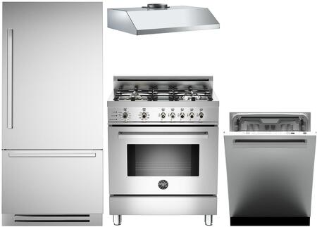 4-Piece Stainless Steel Kitchen Package with REF30PIXR 30 inch  Bottom Freezer Refrigerator  PRO304DFSX 30 inch  Dual Fuel Range  KU30PRO1XV 30 inch  Wall Mount Hood  and