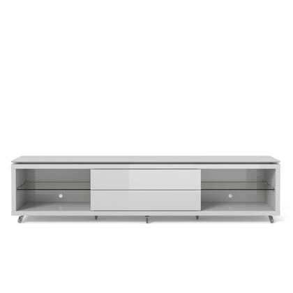 """Lincoln 2.4 Collection 17452 94"""" TV Stand with Silicone Casters  4 Shelves and 2 Telescopic Drawer Slides in White"""