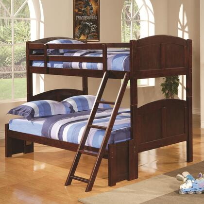 Parker Collection 460212 Twin Over Full Size Bunk Bed with Guard Rails  Ladder  Panel Styling and Solid Pine Wood Construction in Chestnut