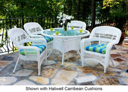 Portside PSD-WH MCHAM 5 Piece Dining Set with Round Table and 4 Chairs in White with Miranda Terrace Chamomile